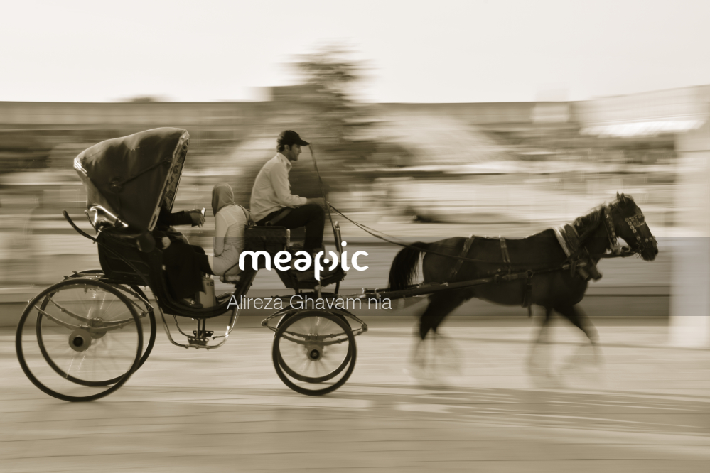 Person Riding A Horse Next To A Bicycle Stock Photo · Meapic