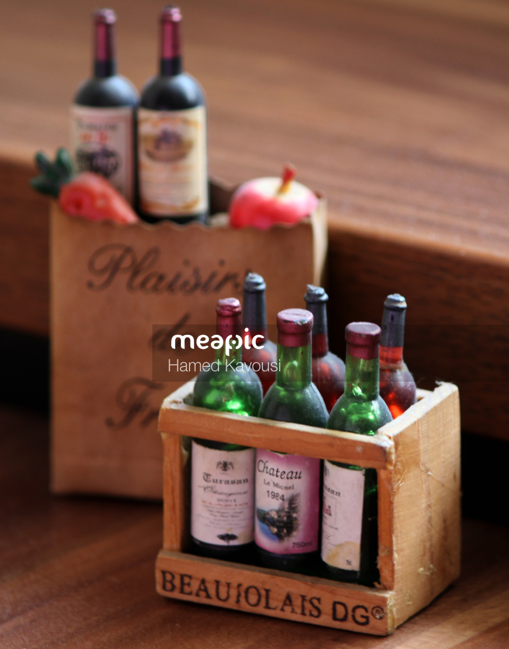 Bottle Of Wine On A Table Stock Photo · Meapic