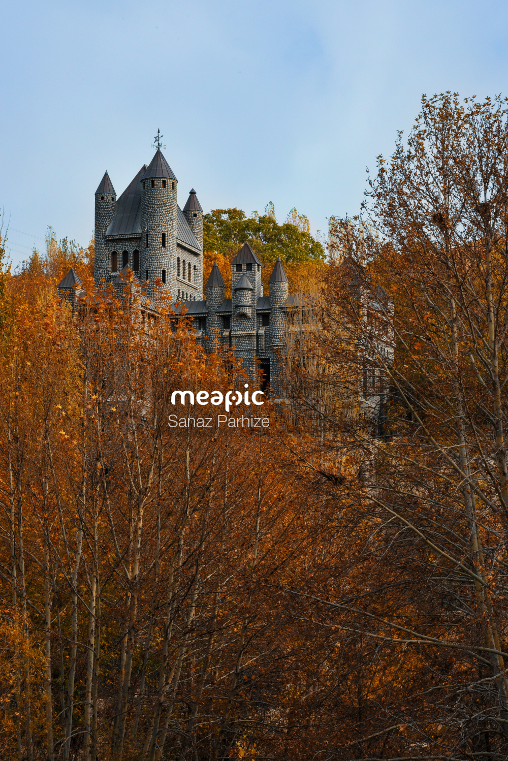 Castle With A Clock In The Middle Of A Forest Stock Photo · Meapic