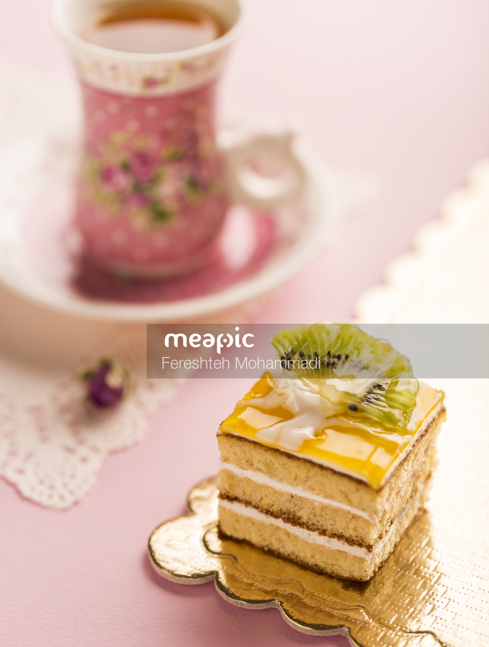 Piece Of Cake And A Cup Of Coffee Stock Photo · Meapic