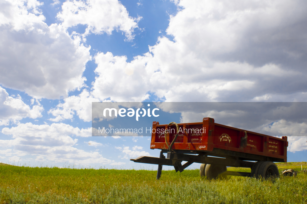 Truck That Is Sitting On Top Of A Grass Covered Field Stock Photo · Meapic