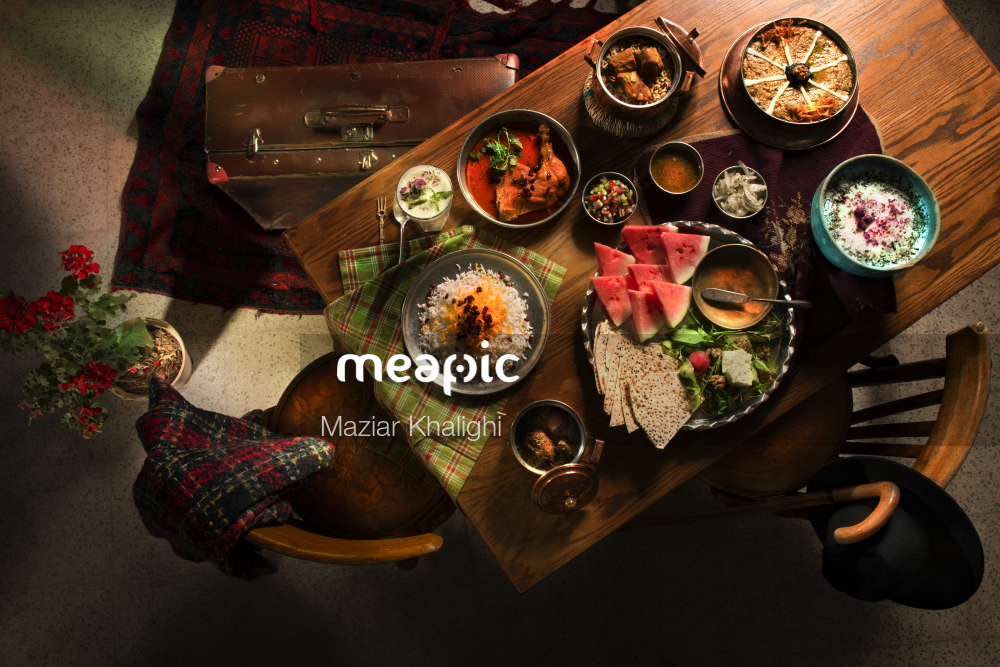 Bunch Of Food On A Table Stock Photo · Meapic