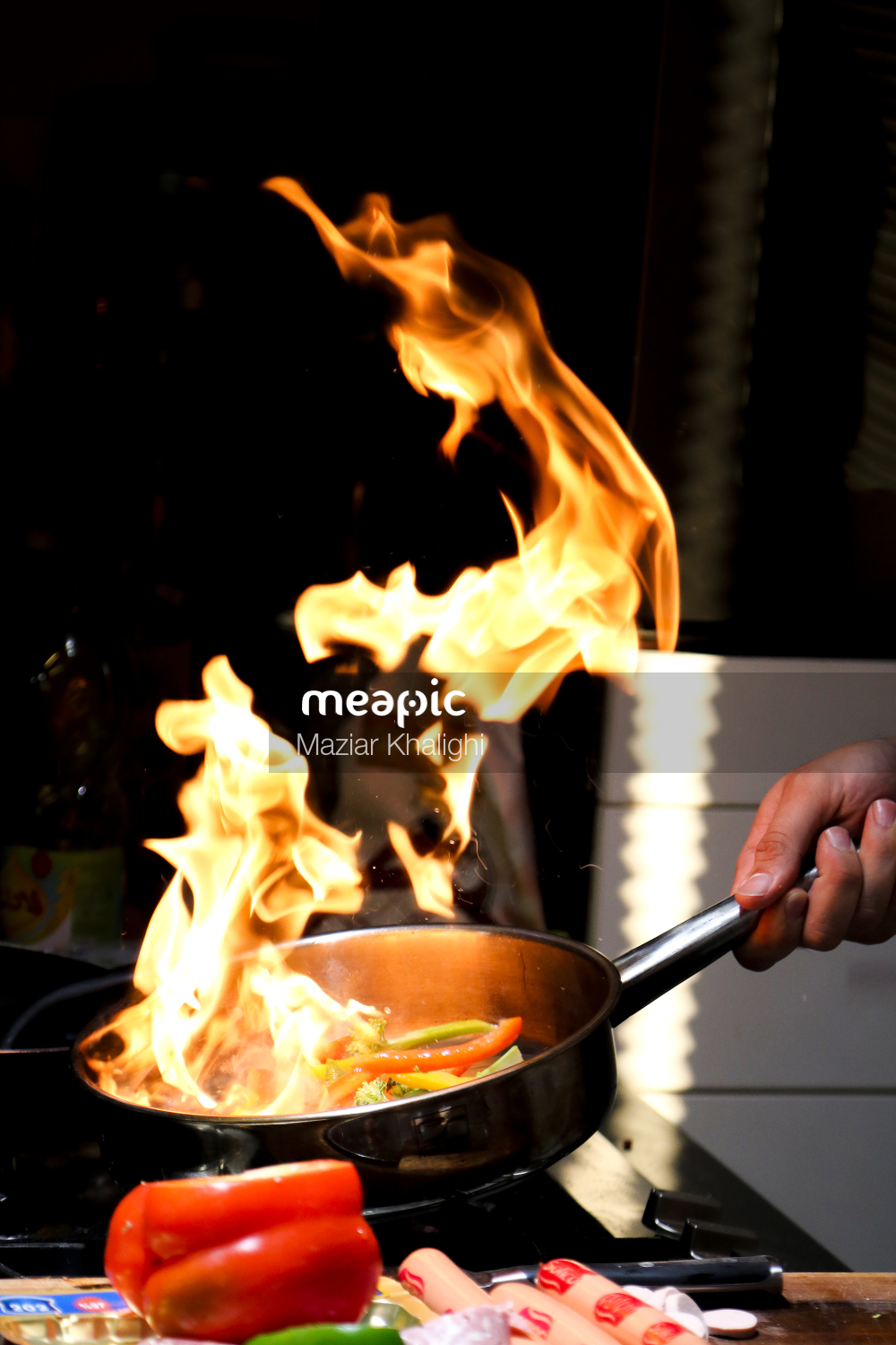 Plate Of Food That Is On Fire Stock Photo · Meapic