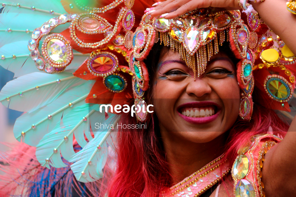Woman Wearing A Colorful Hat Stock Photo · Meapic