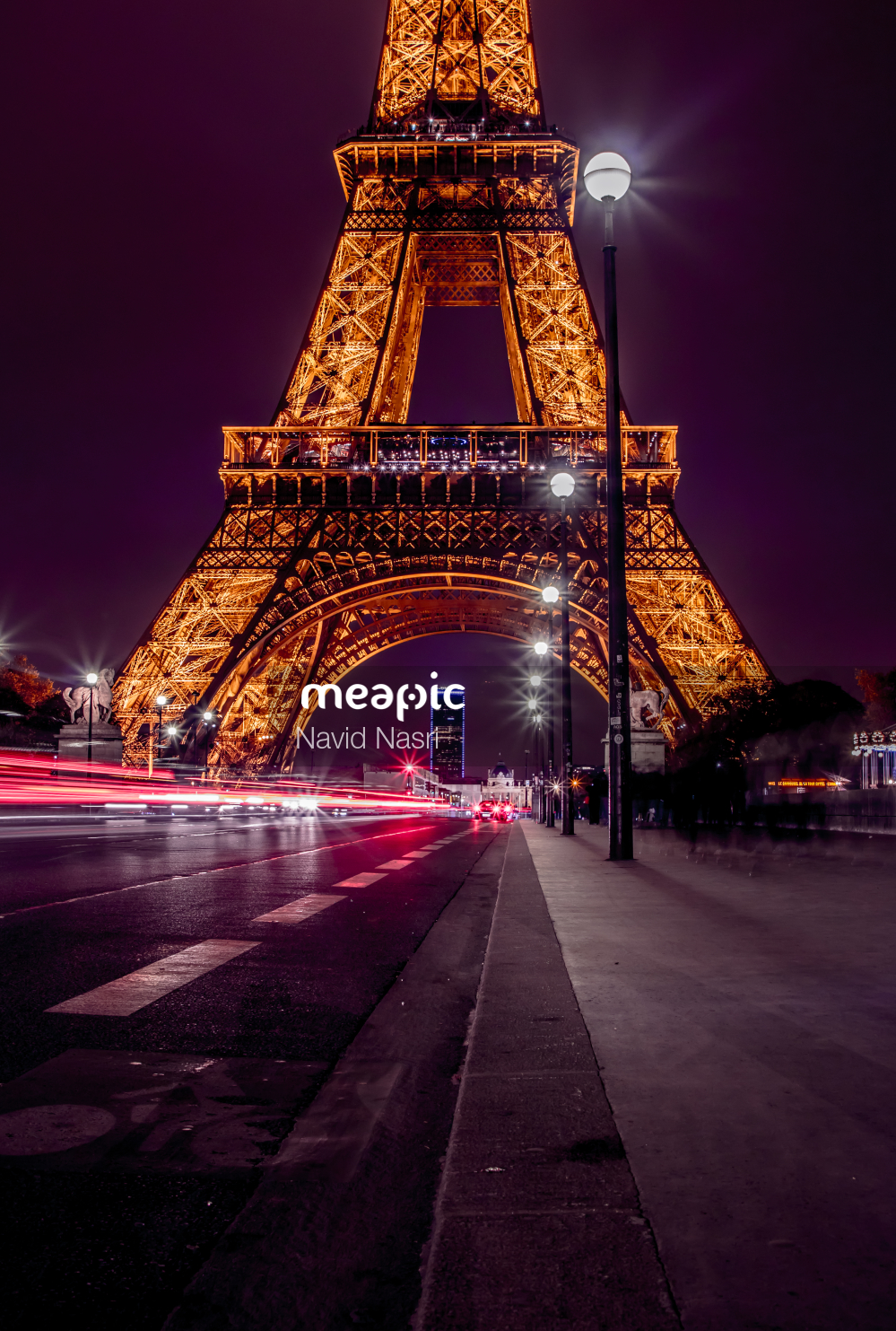 I Am Not Really Confident, But Large Clock Tower Towering Over Eiffel Tower At Night Stock Photo · Meapic